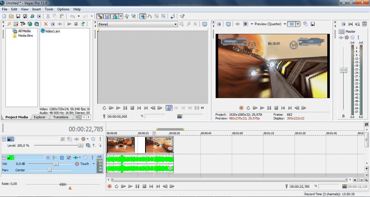 Как обрезать видео в Sony Vegas Pro, как вырезать фрагмент