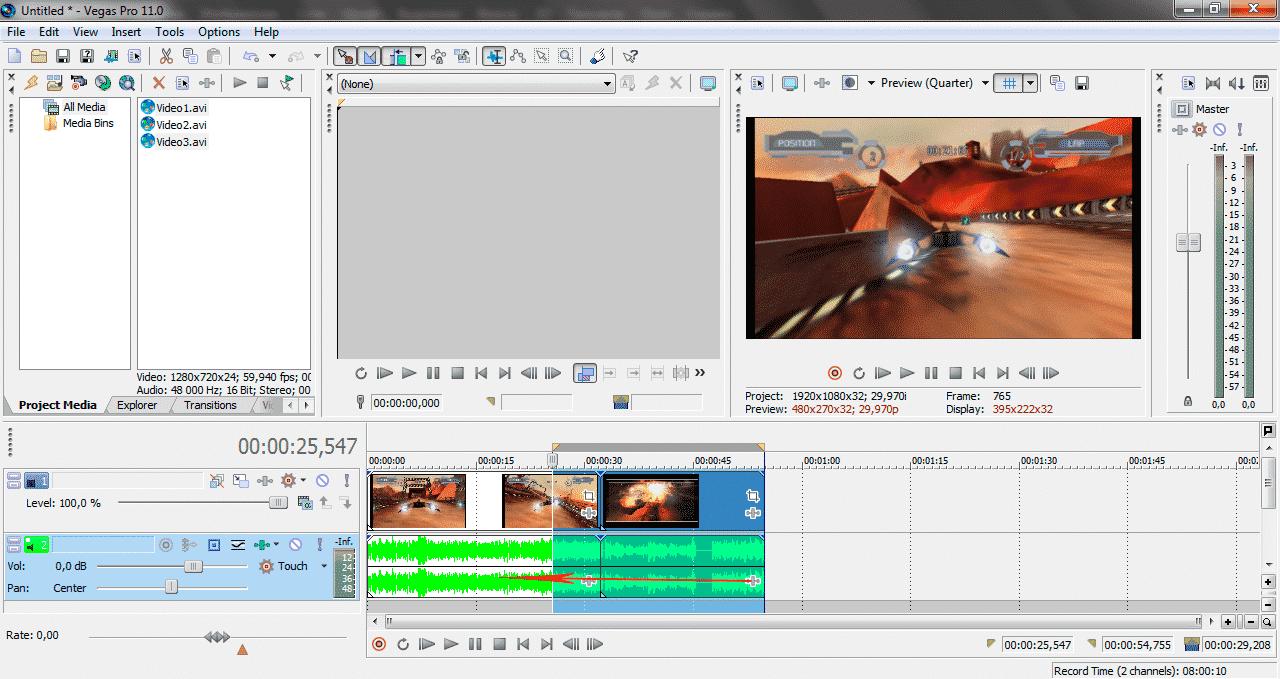 Как сохранить видео в Sony Vegas Pro 4