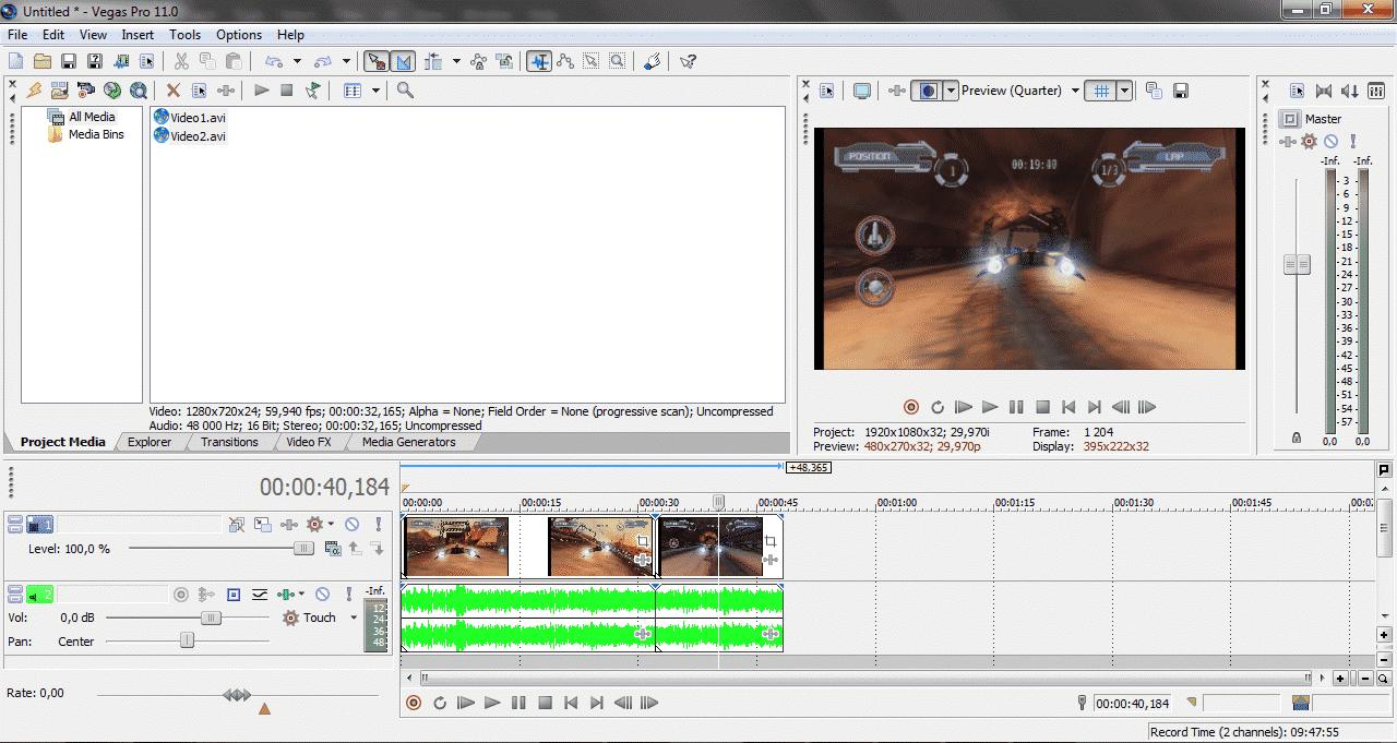 Как добавить аудио и видео дорожки в Sony Vegas - скрин1