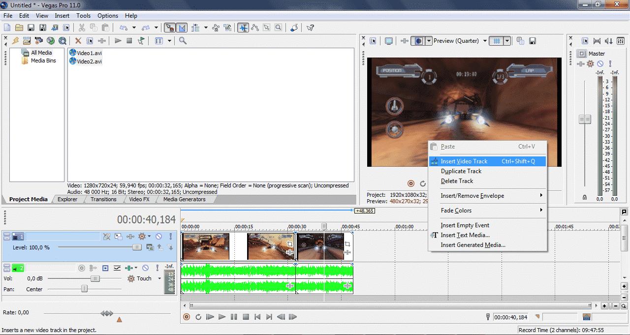 Как добавить аудио и видео дорожки в Sony Vegas - скрин2