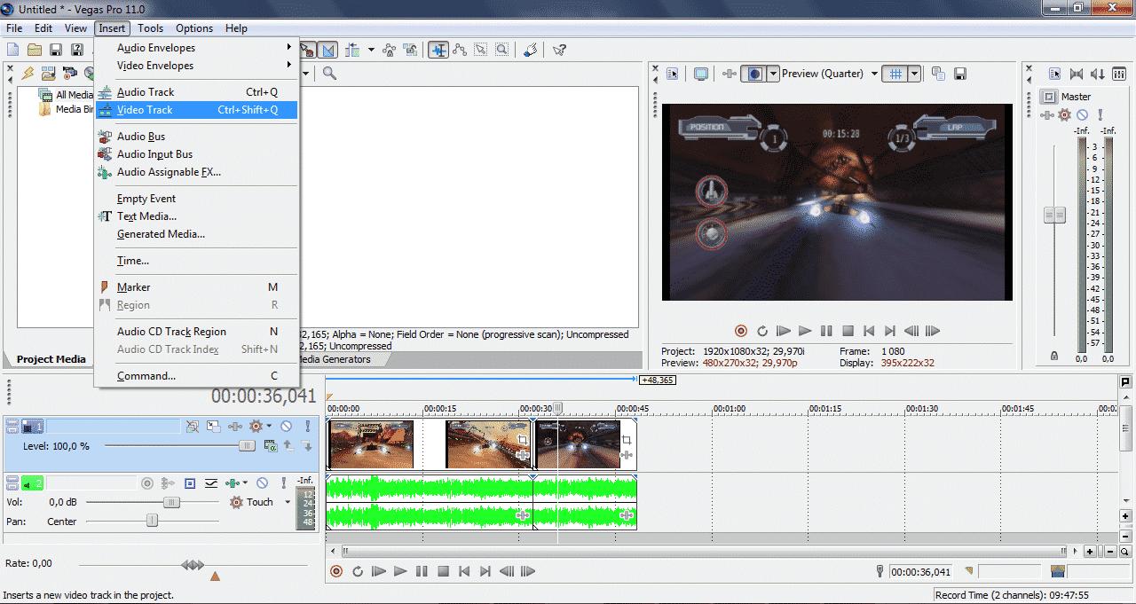 Как добавить аудио и видео дорожки в Sony Vegas - скрин3