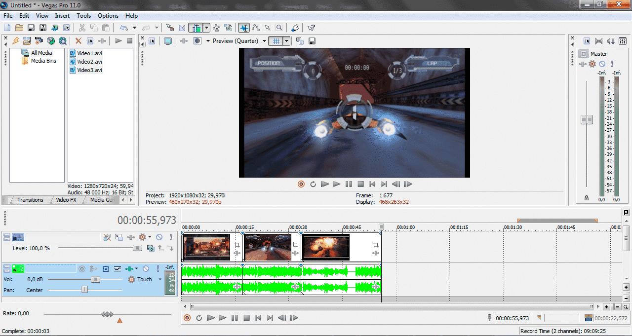 Как импортировать видео в программу Sony Vegas Pro screen4