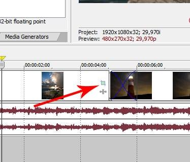 Как увеличить видео в Sony Vegas