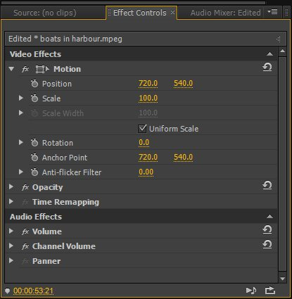 Вкладка с эффектами в Adobe Premiere Pro