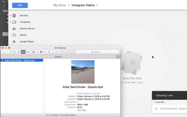 Перенос видео с компьютера в Instagram