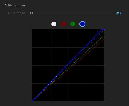Коррекция RGB кривых, необходимая для повышения уровня голубых, а также для снижения уровня зеленого и красного цвета.Этот скриншот сделан из панели цветов Lumetri в Premiere Pro.