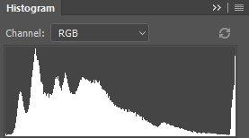 Гистограмма в Photoshop.Она показывает изображение с довольно большим количеством темных и полутоновых пикселей, а всплеск с правой стороны, говорит нам о приличном количестве очень ярких пикселей.Да, это картинка норвежского фьорда Nærøyfjorden ниже.