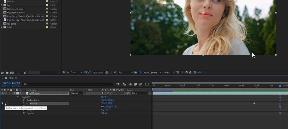 Свойства и анимация клипов в After Effects